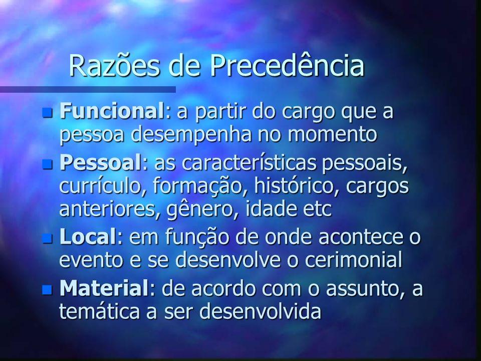 Razões de Precedência n Funcional: a partir do cargo que a pessoa desempenha no momento n Pessoal: as características pessoais, currículo, formação, h