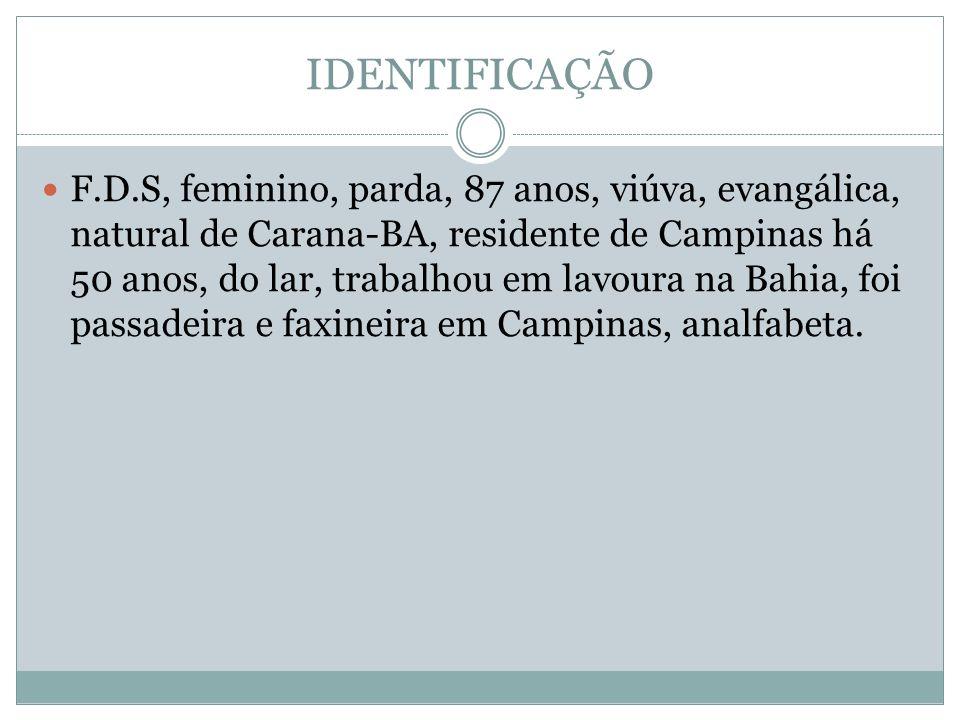 IDENTIFICAÇÃO F.D.S, feminino, parda, 87 anos, viúva, evangálica, natural de Carana-BA, residente de Campinas há 50 anos, do lar, trabalhou em lavoura