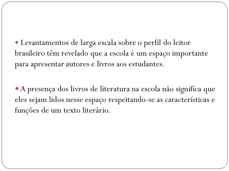 Levantamentos de larga escala sobre o perfil do leitor brasileiro têm revelado que a escola é um espaço importante para apresentar autores e livros ao