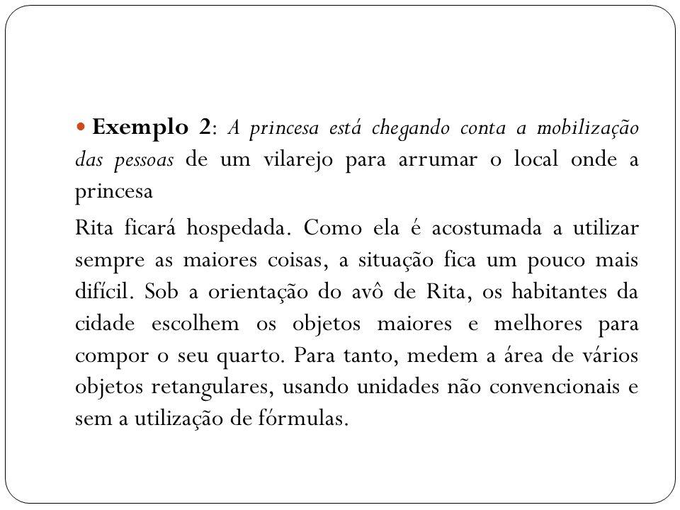 Exemplo 2: A princesa está chegando conta a mobilização das pessoas de um vilarejo para arrumar o local onde a princesa Rita ficará hospedada.