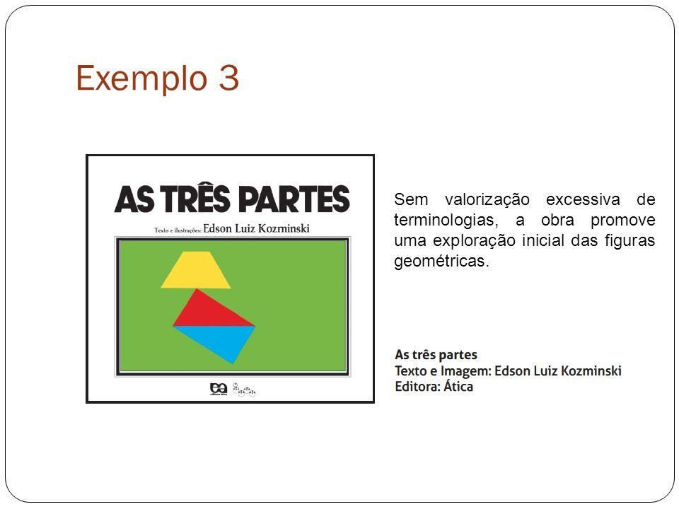 Exemplo 3 Sem valorização excessiva de terminologias, a obra promove uma exploração inicial das figuras geométricas.