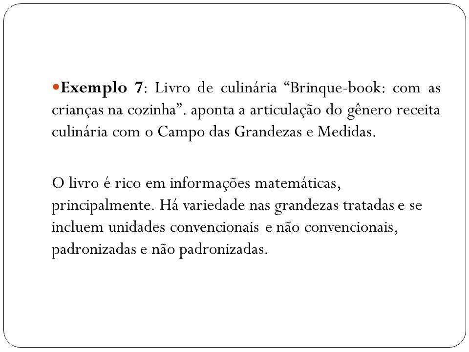 Exemplo 7: Livro de culinária Brinque-book: com as crianças na cozinha. aponta a articulação do gênero receita culinária com o Campo das Grandezas e M