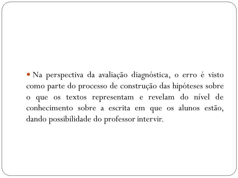 Na perspectiva da avaliação diagnóstica, o erro é visto como parte do processo de construção das hipóteses sobre o que os textos representam e revelam