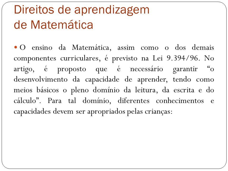 Direitos de aprendizagem de Matemática O ensino da Matemática, assim como o dos demais componentes curriculares, é previsto na Lei 9.394/96. No artigo
