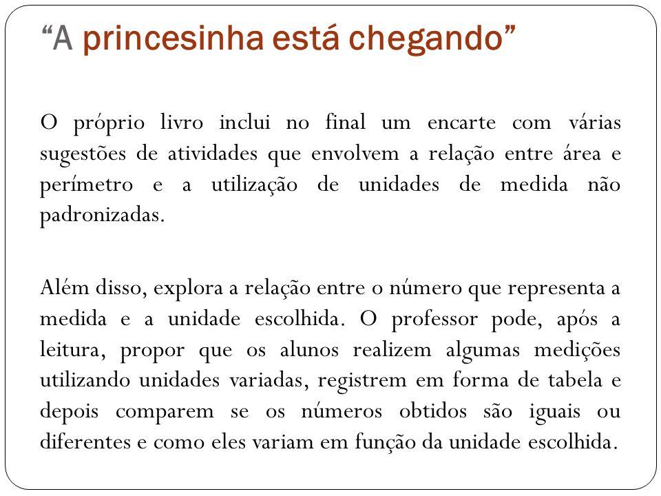 A princesinha está chegando O próprio livro inclui no final um encarte com várias sugestões de atividades que envolvem a relação entre área e perímetr