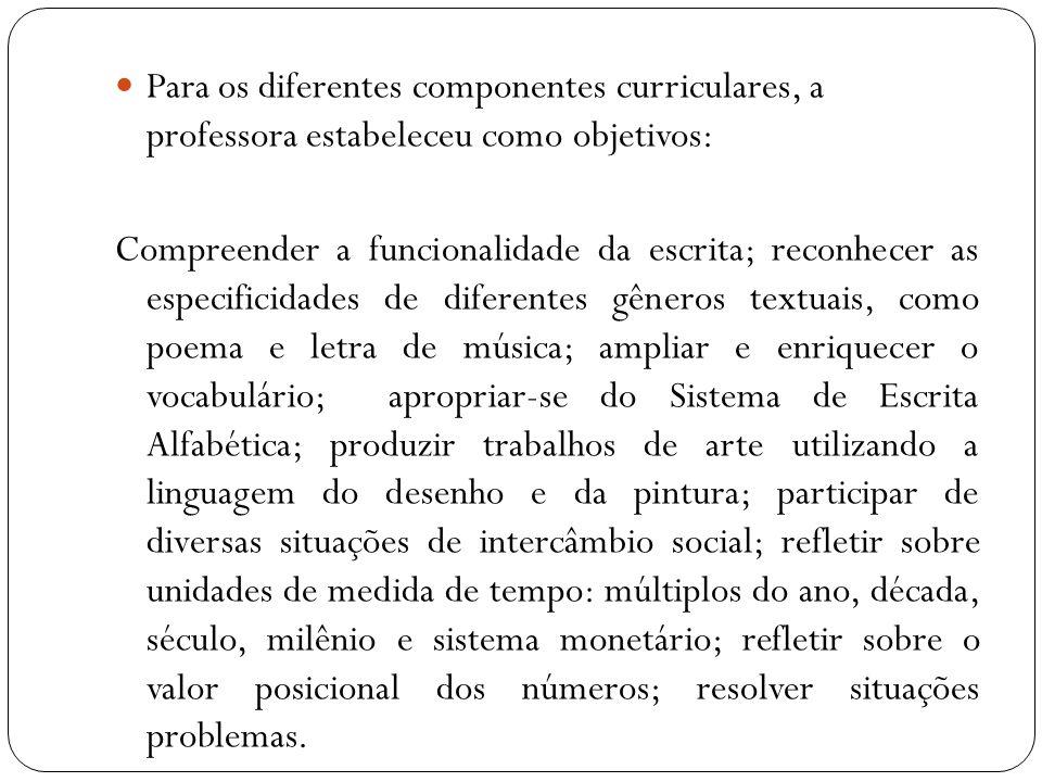 Para os diferentes componentes curriculares, a professora estabeleceu como objetivos: Compreender a funcionalidade da escrita; reconhecer as especific