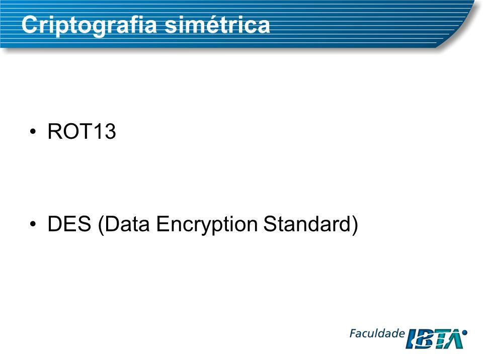 ROT13 DES (Data Encryption Standard) Criptografia simétrica