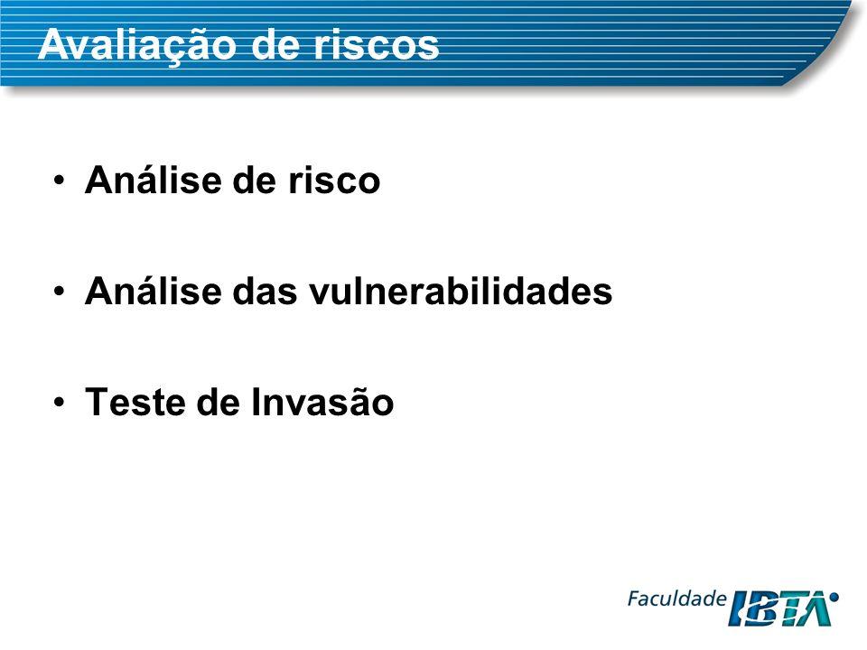 Análise de risco Análise das vulnerabilidades Teste de Invasão Avaliação de riscos