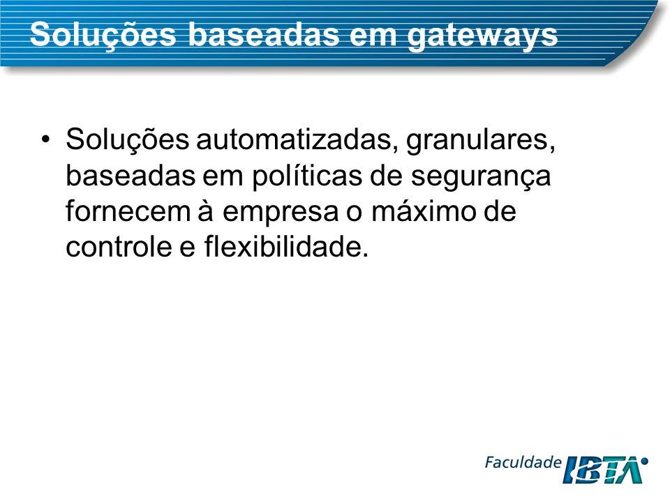 Soluções automatizadas, granulares, baseadas em políticas de segurança fornecem à empresa o máximo de controle e flexibilidade.