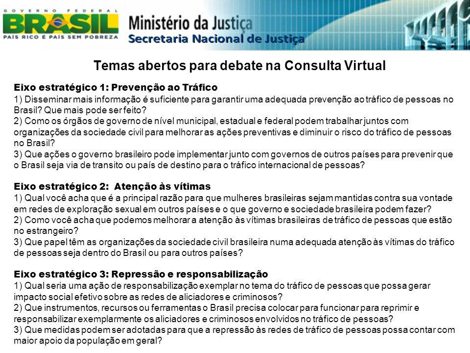 Temas abertos para debate na Consulta Virtual Eixo estratégico 1: Prevenção ao Tráfico 1) Disseminar mais informação é suficiente para garantir uma ad