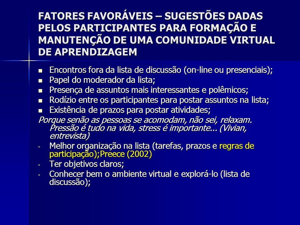 FATORES FAVORÁVEIS – SUGESTÕES DADAS PELOS PARTICIPANTES PARA FORMAÇÃO E MANUTENÇÃO DE UMA COMUNIDADE VIRTUAL DE APRENDIZAGEM Encontros fora da lista