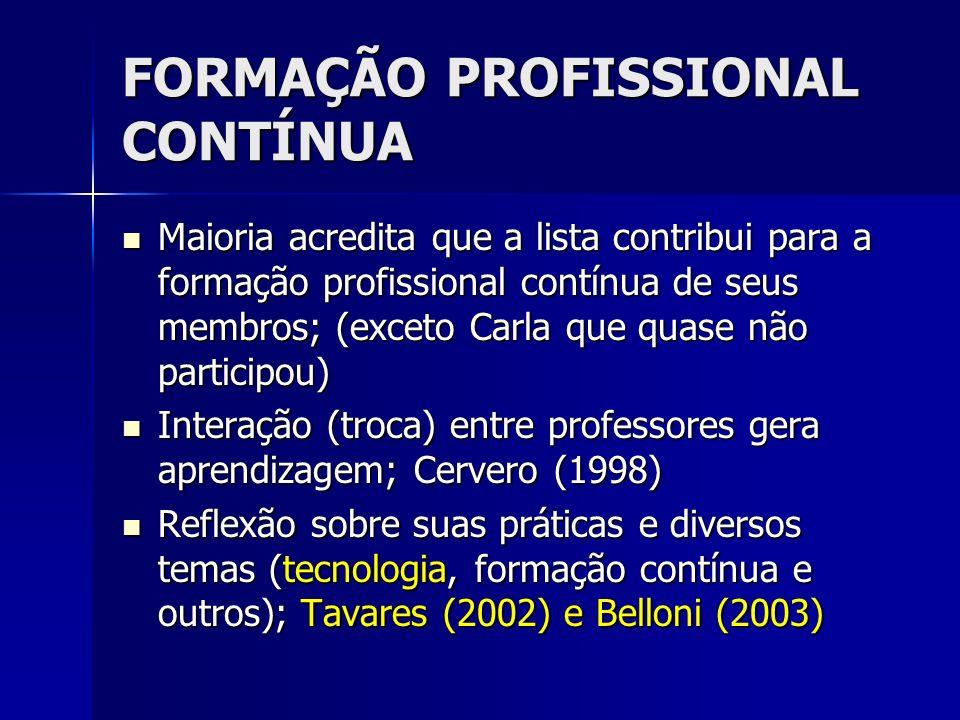 FORMAÇÃO PROFISSIONAL CONTÍNUA Maioria acredita que a lista contribui para a formação profissional contínua de seus membros; (exceto Carla que quase n