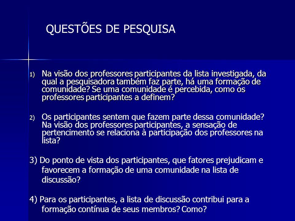 1) Na visão dos professores participantes da lista investigada, da qual a pesquisadora também faz parte, há uma formação de comunidade? Se uma comunid