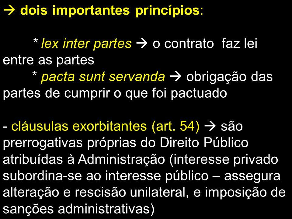 dois importantes princípios: * lex inter partes o contrato faz lei entre as partes * pacta sunt servanda obrigação das partes de cumprir o que foi pac