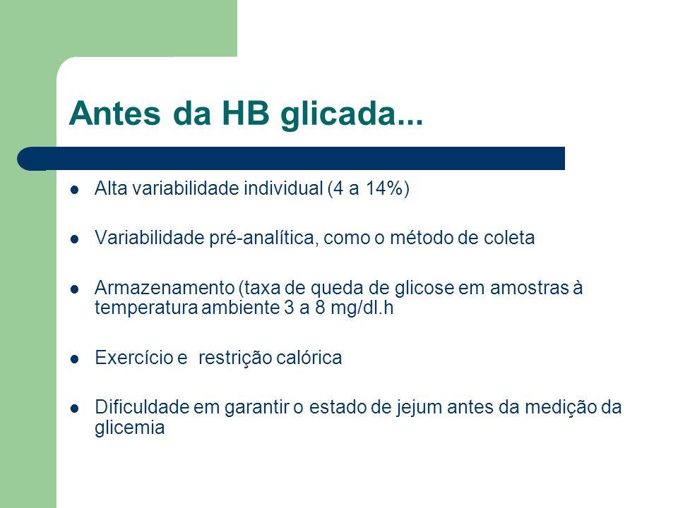 Antes da HB glicada... Alta variabilidade individual (4 a 14%) Variabilidade pré-analítica, como o método de coleta Armazenamento (taxa de queda de gl