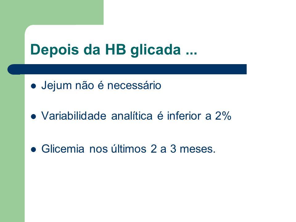 Depois da HB glicada... Jejum não é necessário Variabilidade analítica é inferior a 2% Glicemia nos últimos 2 a 3 meses.
