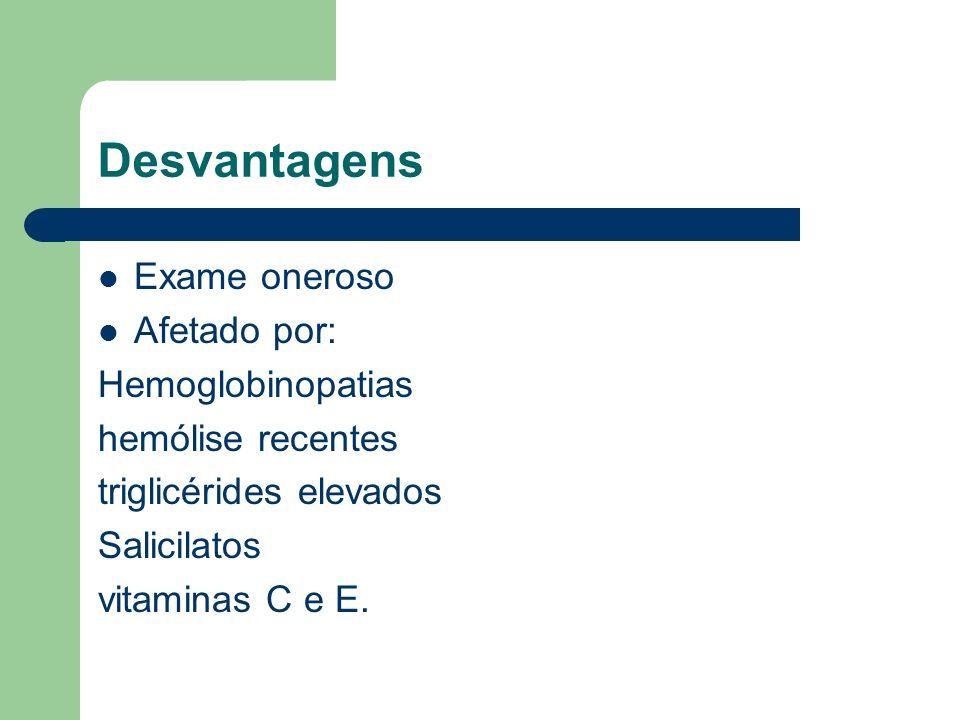 Desvantagens Exame oneroso Afetado por: Hemoglobinopatias hemólise recentes triglicérides elevados Salicilatos vitaminas C e E.