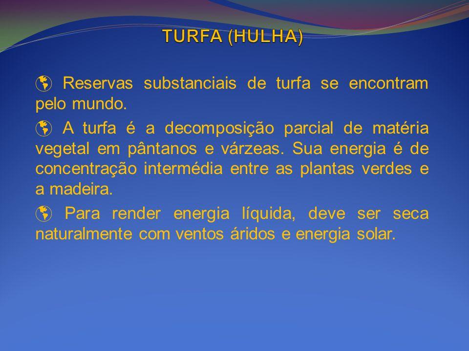 Reservas substanciais de turfa se encontram pelo mundo. A turfa é a decomposição parcial de matéria vegetal em pântanos e várzeas. Sua energia é de co