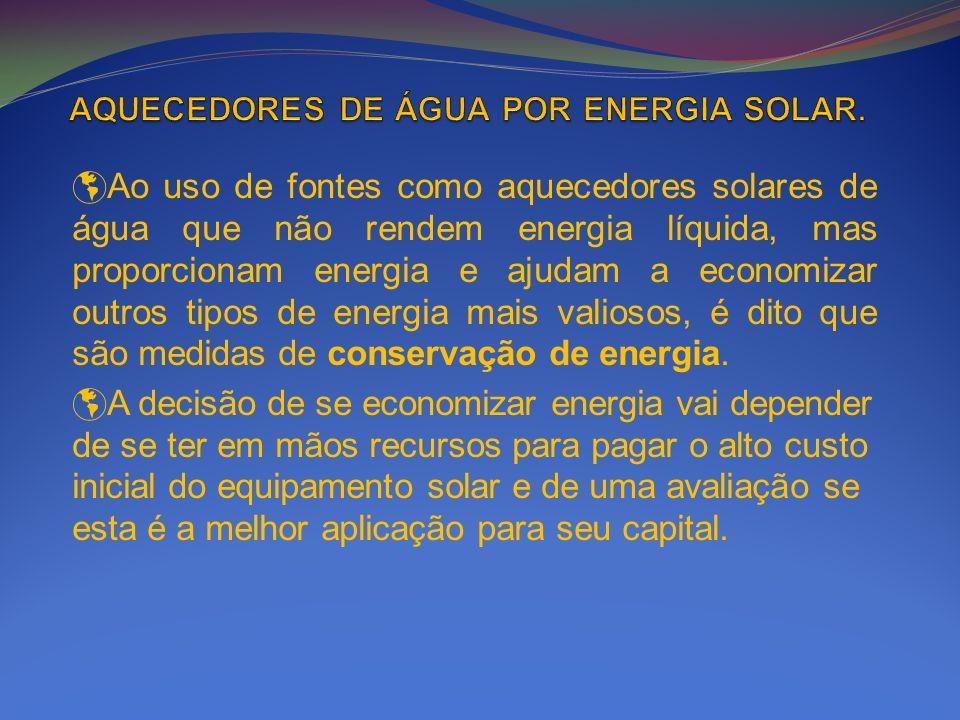 Ao uso de fontes como aquecedores solares de água que não rendem energia líquida, mas proporcionam energia e ajudam a economizar outros tipos de energ