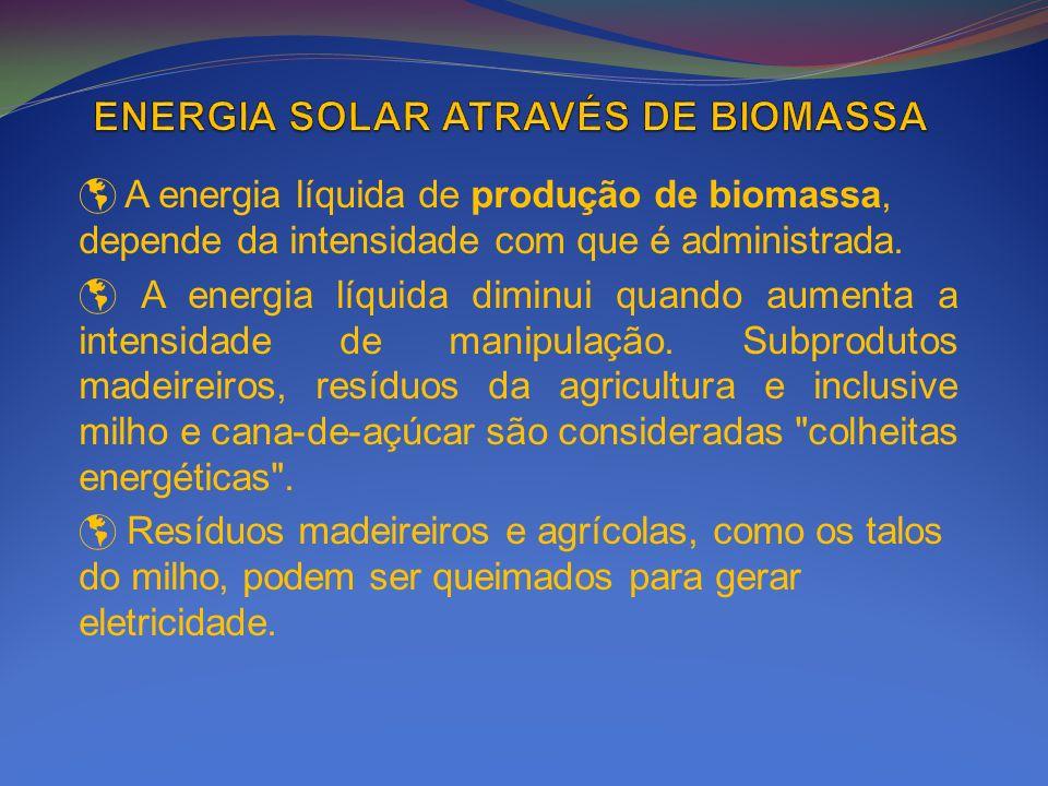 A energia líquida de produção de biomassa, depende da intensidade com que é administrada. A energia líquida diminui quando aumenta a intensidade de ma