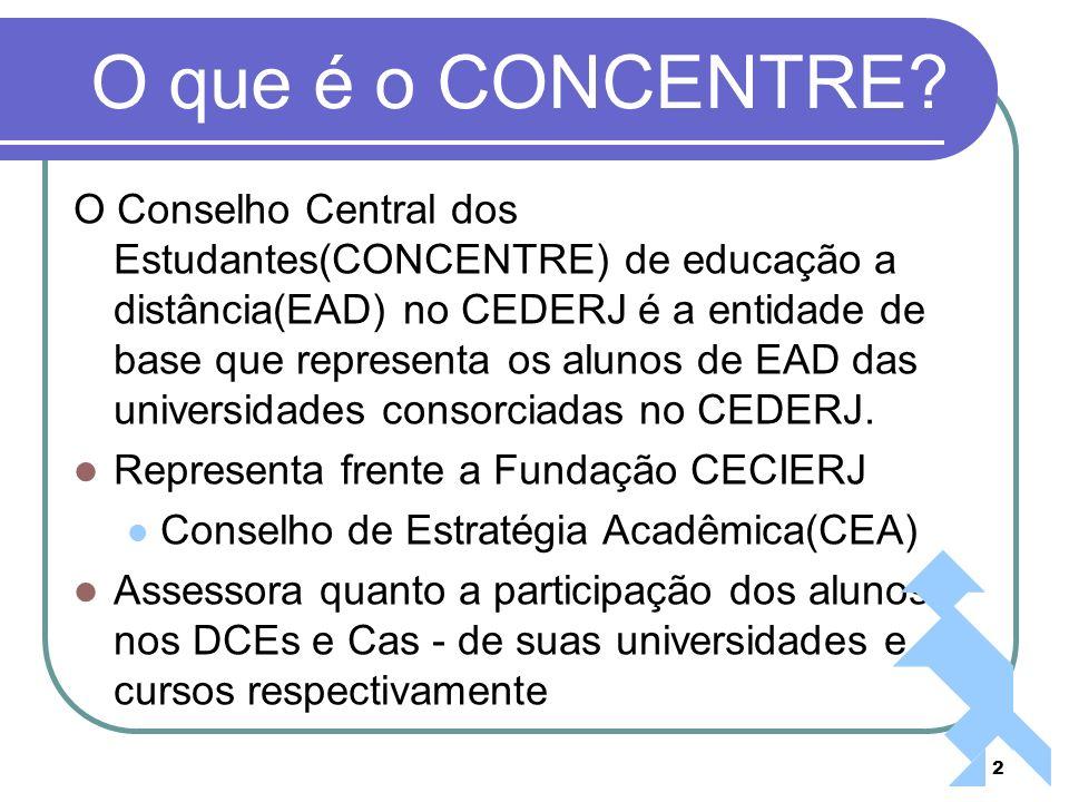 2 O que é o CONCENTRE? O Conselho Central dos Estudantes(CONCENTRE) de educação a distância(EAD) no CEDERJ é a entidade de base que representa os alun