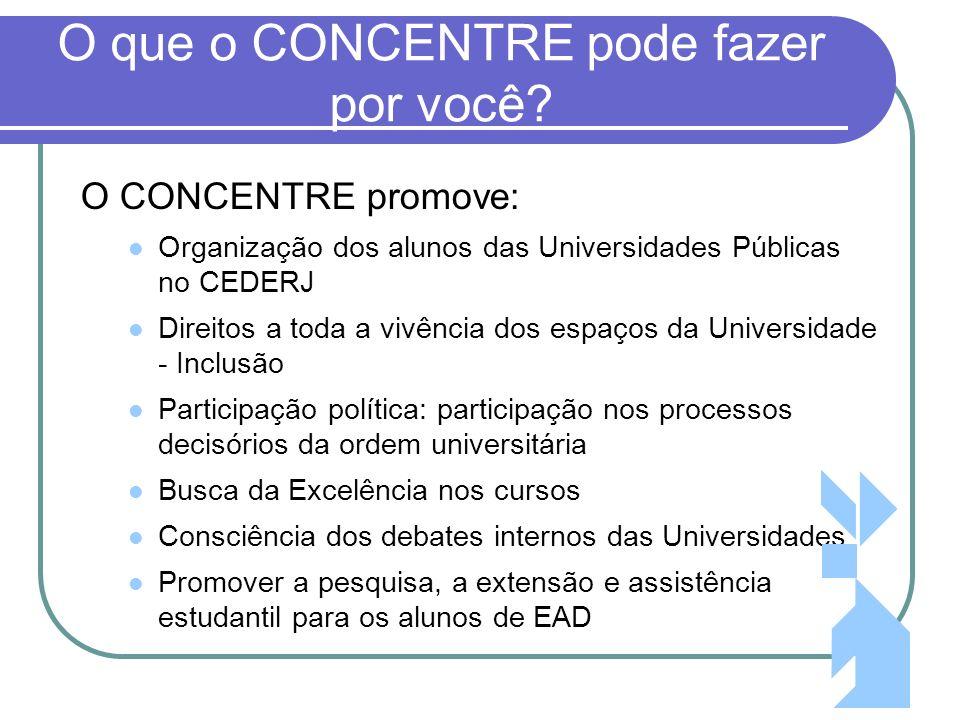 3 O que o CONCENTRE pode fazer por você? O CONCENTRE promove: Organização dos alunos das Universidades Públicas no CEDERJ Direitos a toda a vivência d