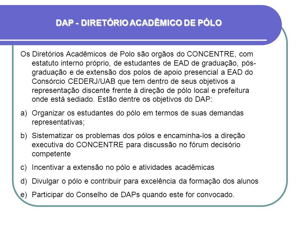 Os Diretórios Acadêmicos de Polo são orgãos do CONCENTRE, com estatuto interno próprio, de estudantes de EAD de graduação, pós- graduação e de extensão dos polos de apoio presencial a EAD do Consórcio CEDERJ/UAB que tem dentro de seus objetivos a representação discente frente à direção de pólo local e prefeitura onde está sediado.