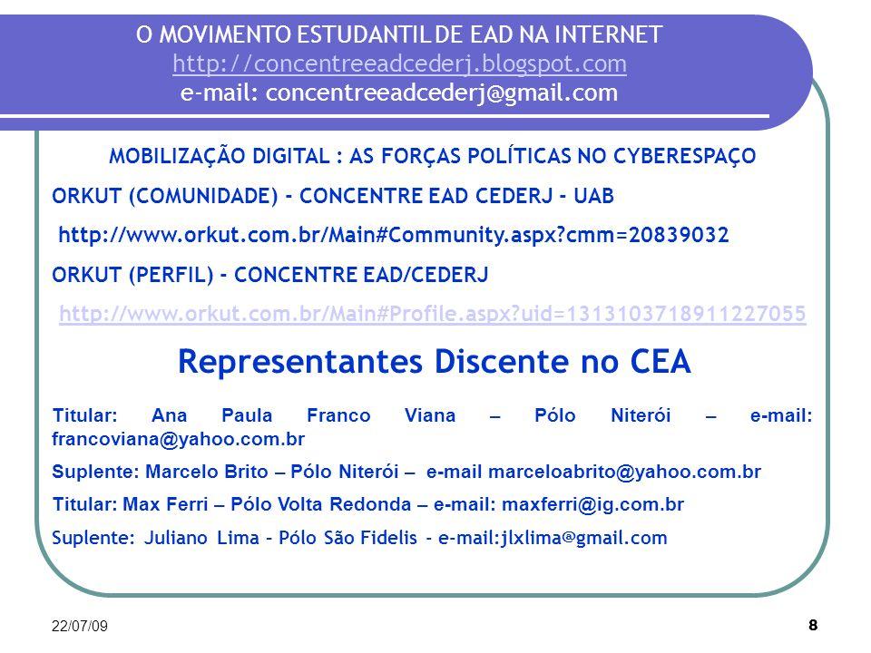 22/07/098 O MOVIMENTO ESTUDANTIL DE EAD NA INTERNET http://concentreeadcederj.blogspot.com e-mail: concentreeadcederj@gmail.com http://concentreeadced