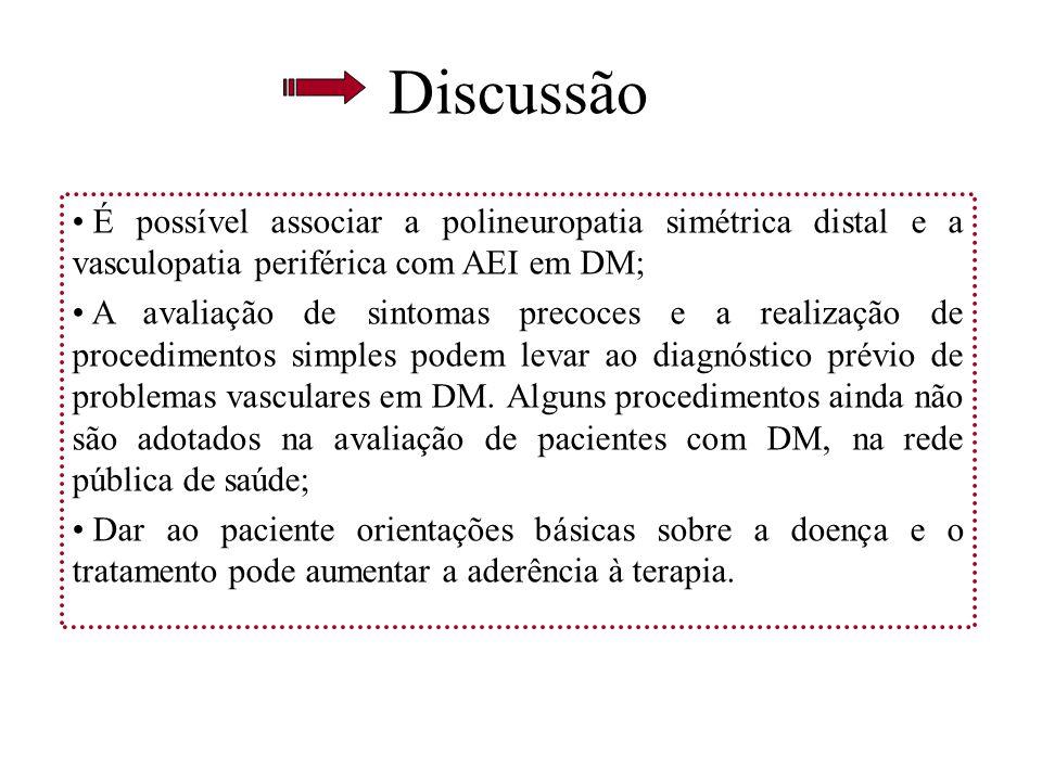 Discussão É possível associar a polineuropatia simétrica distal e a vasculopatia periférica com AEI em DM; A avaliação de sintomas precoces e a realiz