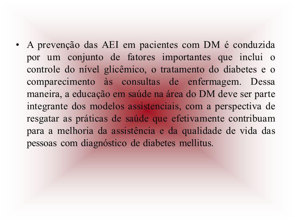 A prevenção das AEI em pacientes com DM é conduzida por um conjunto de fatores importantes que inclui o controle do nível glicêmico, o tratamento do d