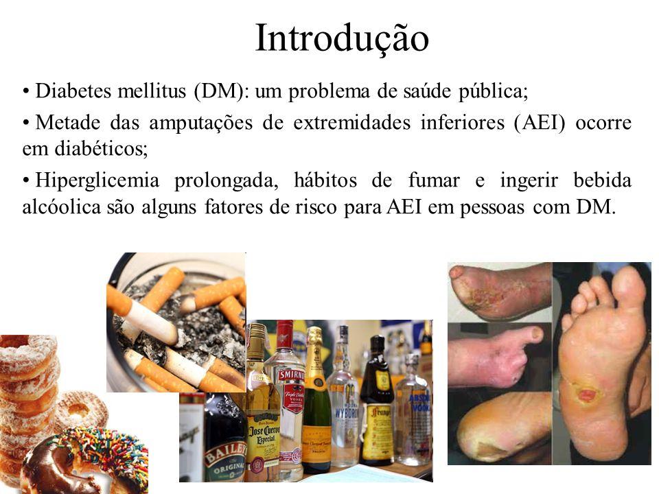 Introdução Diabetes mellitus (DM): um problema de saúde pública; Metade das amputações de extremidades inferiores (AEI) ocorre em diabéticos; Hipergli