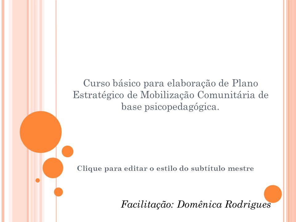 Clique para editar o estilo do subtítulo mestre 08\12\2009 Facilitação: Curso básico para elaboração de Plano Estratégico de Mobilização Comunitária de base psicopedagógica.