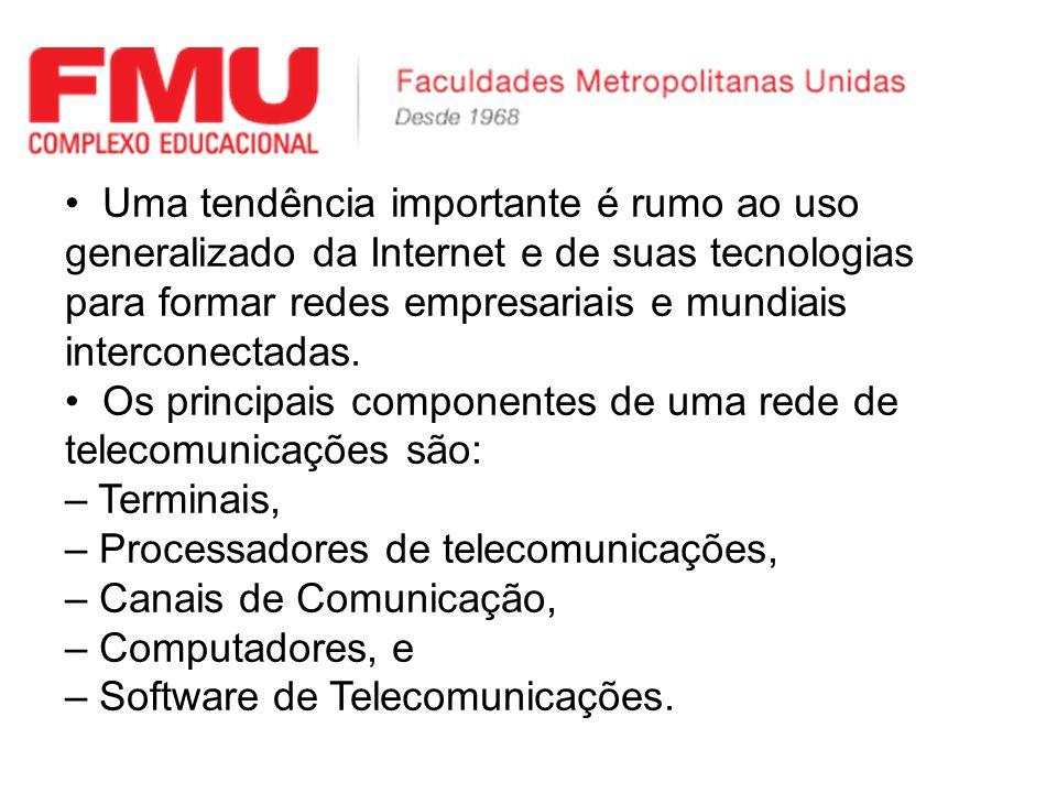 Uma tendência importante é rumo ao uso generalizado da Internet e de suas tecnologias para formar redes empresariais e mundiais interconectadas. Os pr