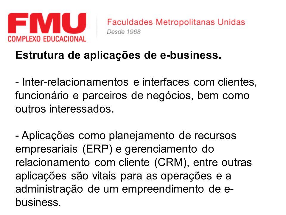 Estrutura de aplicações de e-business. - Inter-relacionamentos e interfaces com clientes, funcionário e parceiros de negócios, bem como outros interes
