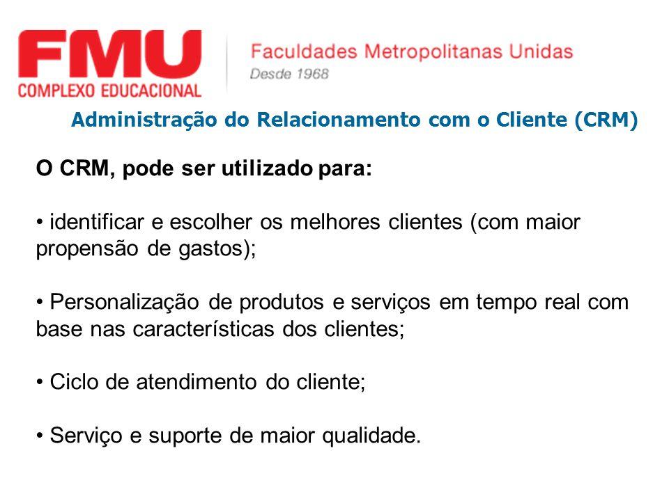 Administração do Relacionamento com o Cliente (CRM) O CRM, pode ser utilizado para: identificar e escolher os melhores clientes (com maior propensão d