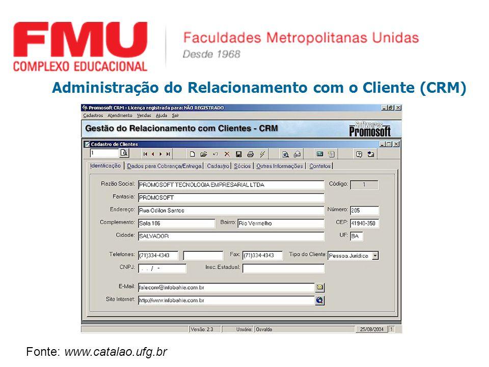 Administração do Relacionamento com o Cliente (CRM) Fonte: www.catalao.ufg.br