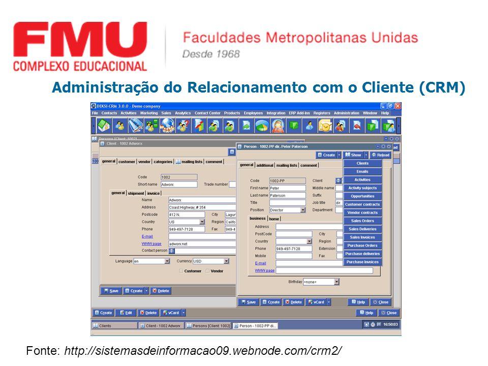 Administração do Relacionamento com o Cliente (CRM) Fonte: http://sistemasdeinformacao09.webnode.com/crm2/