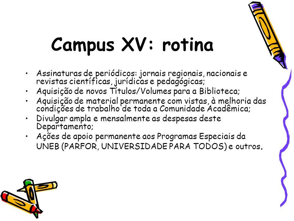 Campus XV: rotina Assinaturas de periódicos: jornais regionais, nacionais e revistas científicas, jurídicas e pedagógicas; Aquisição de novos Títulos/