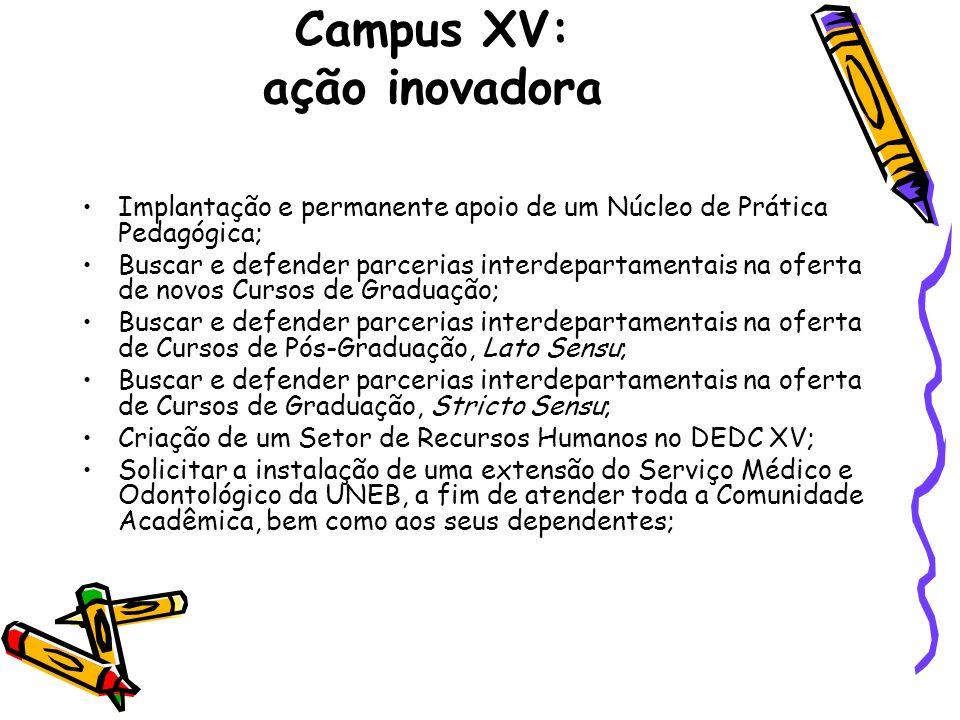 Campus XV: ação inovadora Implantação e permanente apoio de um Núcleo de Prática Pedagógica; Buscar e defender parcerias interdepartamentais na oferta