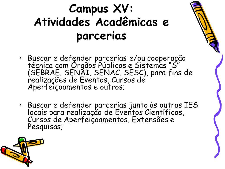 Campus XV: Atividades Acadêmicas e parcerias Buscar e defender parcerias e/ou cooperação técnica com Órgãos Públicos e Sistemas S (SEBRAE, SENAI, SENA