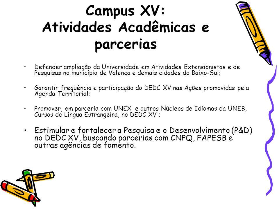 Campus XV: Atividades Acadêmicas e parcerias Defender ampliação da Universidade em Atividades Extensionistas e de Pesquisas no município de Valença e