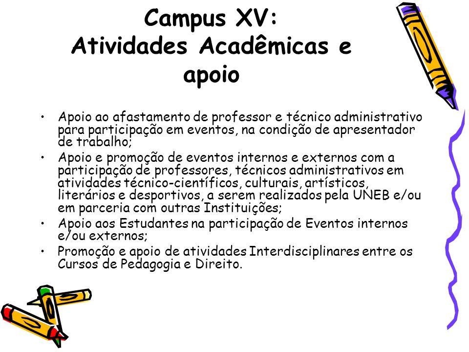 Campus XV: Atividades Acadêmicas e apoio Apoio ao afastamento de professor e técnico administrativo para participação em eventos, na condição de apres
