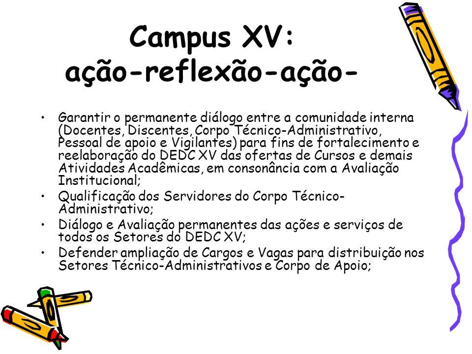 Campus XV: ação-reflexão-ação- Garantir o permanente diálogo entre a comunidade interna (Docentes, Discentes, Corpo Técnico-Administrativo, Pessoal de