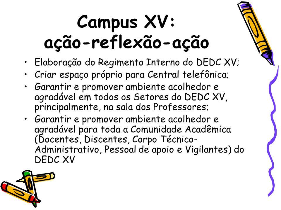 Campus XV: ação-reflexão-ação Elaboração do Regimento Interno do DEDC XV; Criar espaço próprio para Central telefônica; Garantir e promover ambiente a