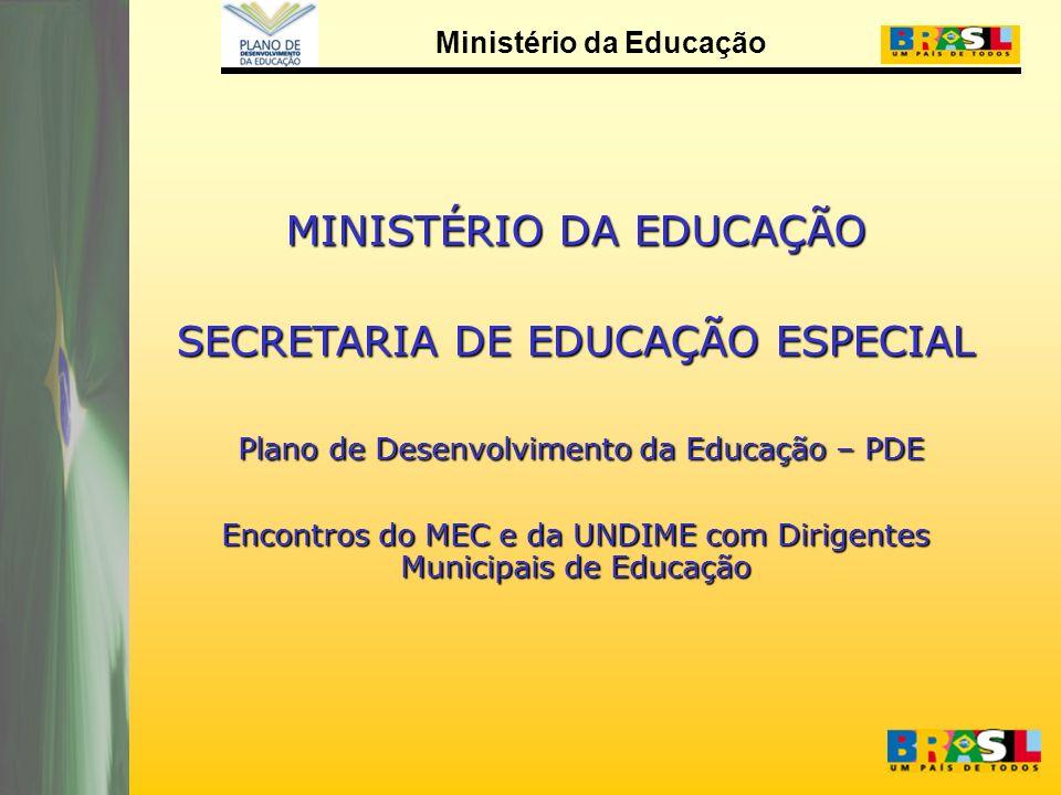 Ministério da Educação MINISTÉRIO DA EDUCAÇÃO SECRETARIA DE EDUCAÇÃO ESPECIAL Plano de Desenvolvimento da Educação – PDE Plano de Desenvolvimento da Educação – PDE Encontros do MEC e da UNDIME com Dirigentes Municipais de Educação