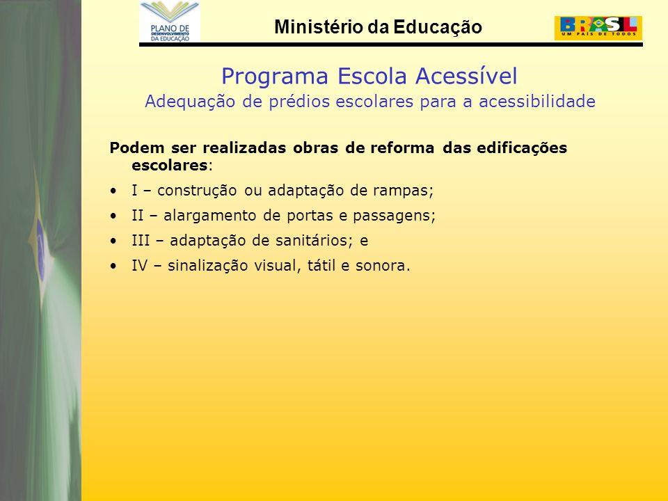 Ministério da Educação Programa Escola Acessível Adequação de prédios escolares para a acessibilidade Podem ser realizadas obras de reforma das edific
