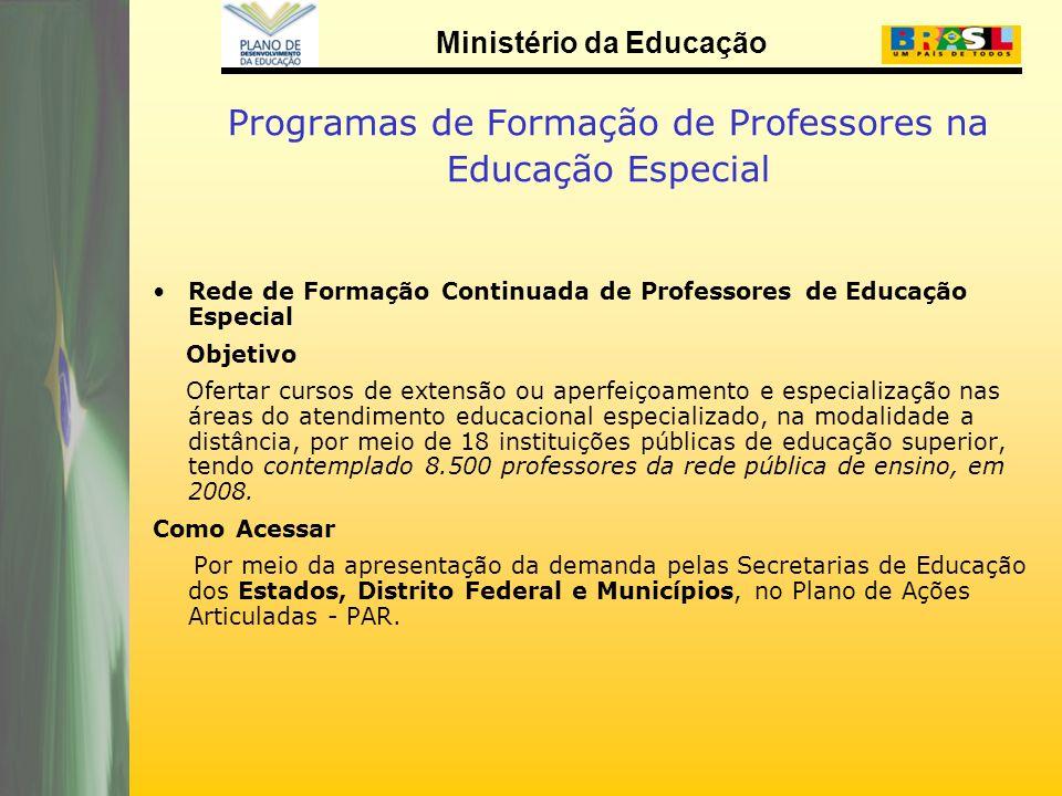 Ministério da Educação Programas de Formação de Professores na Educação Especial Rede de Formação Continuada de Professores de Educação Especial Objet
