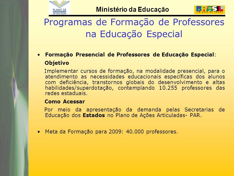 Ministério da Educação Programas de Formação de Professores na Educação Especial Formação Presencial de Professores de Educação Especial: Objetivo Imp