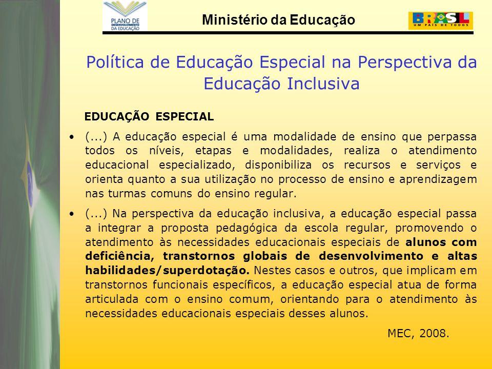 Ministério da Educação Política de Educação Especial na Perspectiva da Educação Inclusiva EDUCAÇÃO ESPECIAL (...) A educação especial é uma modalidade