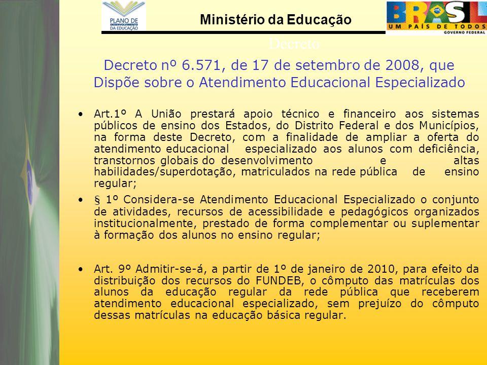 Ministério da Educação Decreto Decreto nº 6.571, de 17 de setembro de 2008, que Dispõe sobre o Atendimento Educacional Especializado Art.1º A União pr